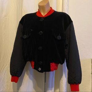 vintage ESCADA bomber jacket black velvet sz M